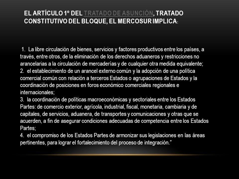 EL ARTÍCULO 1º DEL TRATADO DE ASUNCIÓN, TRATADO CONSTITUTIVO DEL BLOQUE, EL MERCOSUR IMPLICA :TRATADO DE ASUNCIÓN 1. La libre circulación de bienes, s