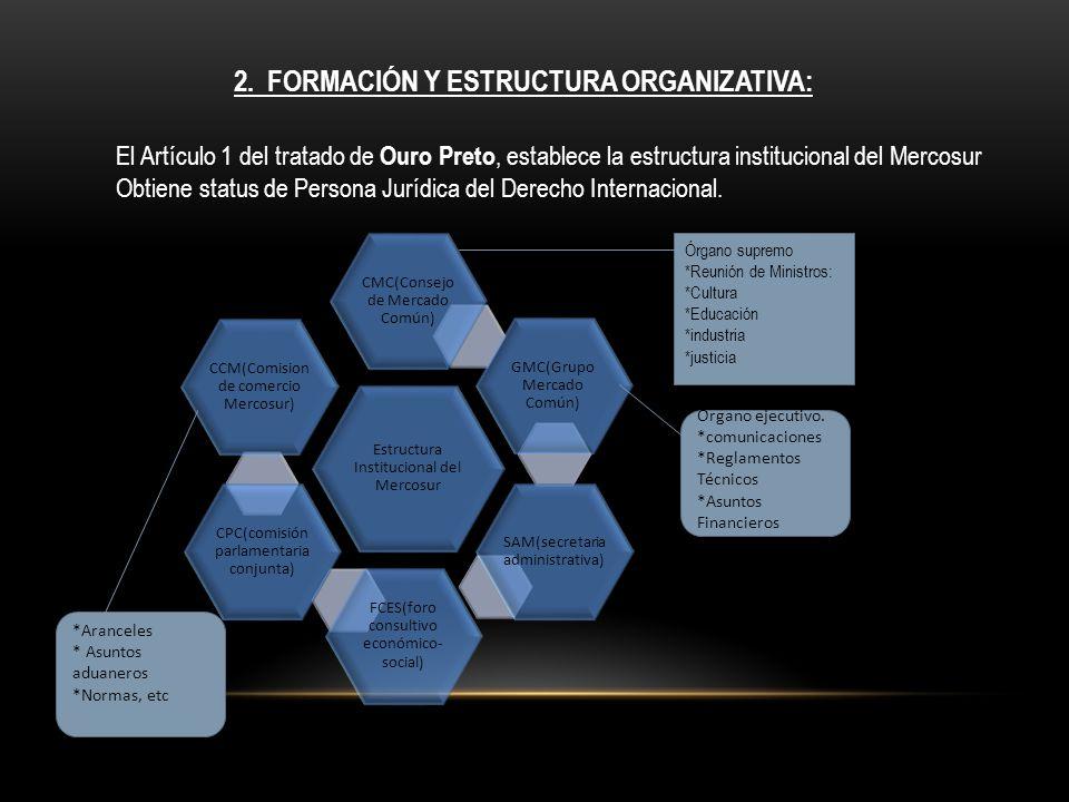 2. FORMACIÓN Y ESTRUCTURA ORGANIZATIVA: El Artículo 1 del tratado de Ouro Preto, establece la estructura institucional del Mercosur Obtiene status de