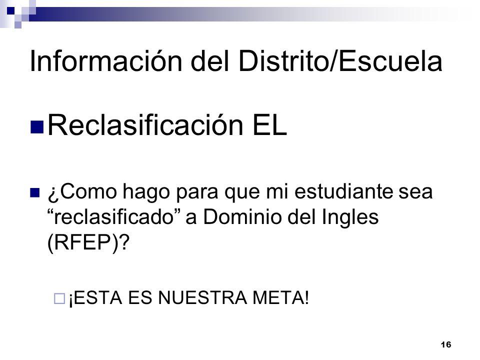 Información del Distrito/Escuela Reclasificación EL ¿Como hago para que mi estudiante sea reclasificado a Dominio del Ingles (RFEP).