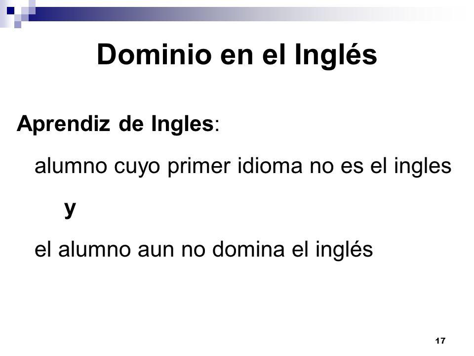 Dominio en el Inglés Aprendiz de Ingles : alumno cuyo primer idioma no es el ingles y el alumno aun no domina el inglés 17