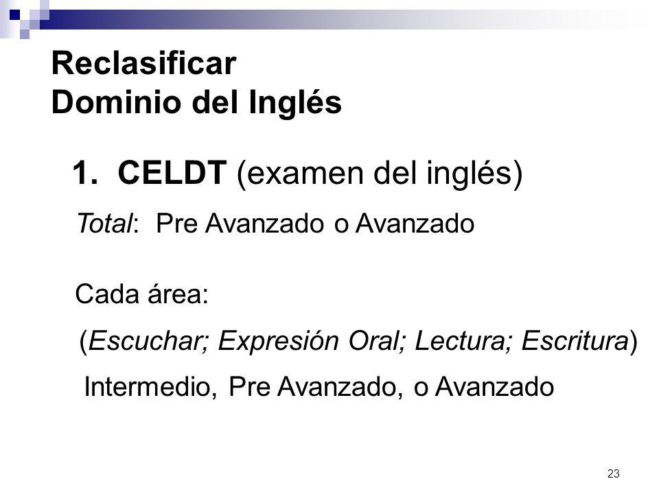23 1. CELDT (examen del inglés) Total: Pre Avanzado o Avanzado Cada área: (Escuchar; Expresión Oral; Lectura; Escritura) Intermedio, Pre Avanzado, o A