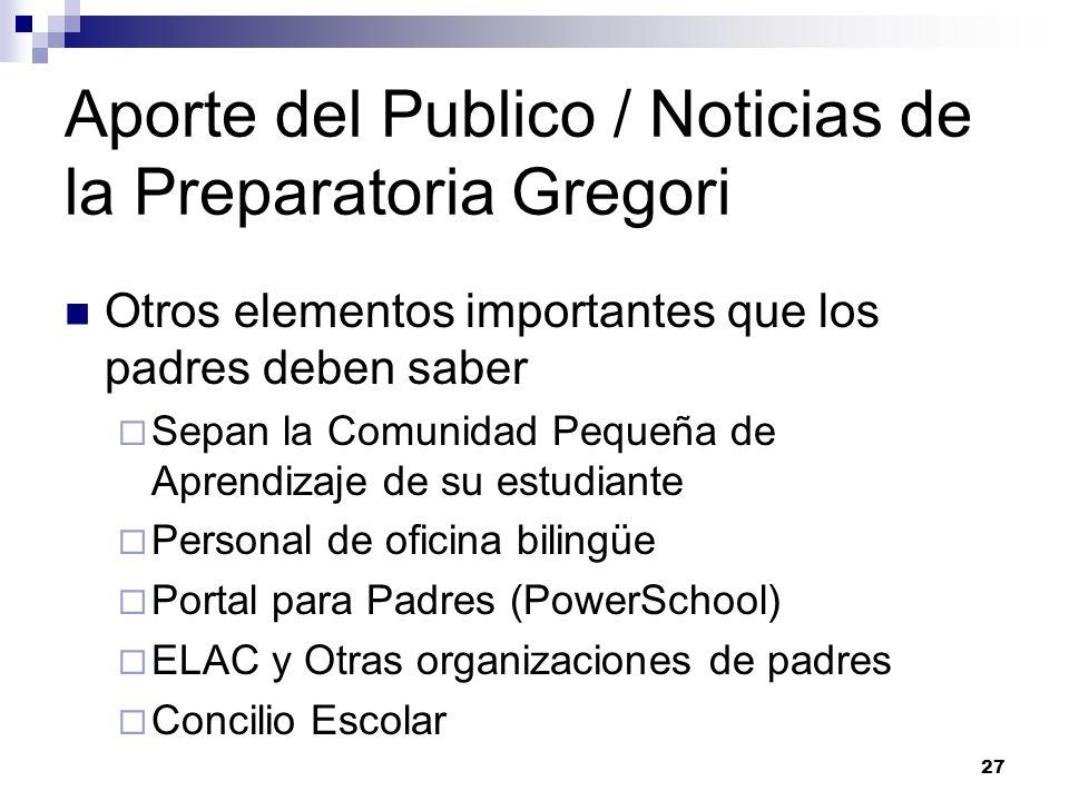 Aporte del Publico / Noticias de la Preparatoria Gregori Otros elementos importantes que los padres deben saber Sepan la Comunidad Pequeña de Aprendiz