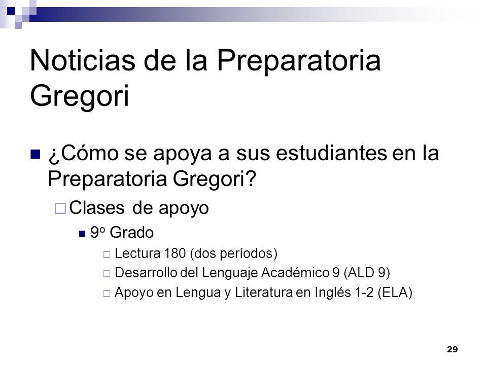 Noticias de la Preparatoria Gregori ¿Cómo se apoya a sus estudiantes en la Preparatoria Gregori? Clases de apoyo 9 o Grado Lectura 180 (dos períodos)