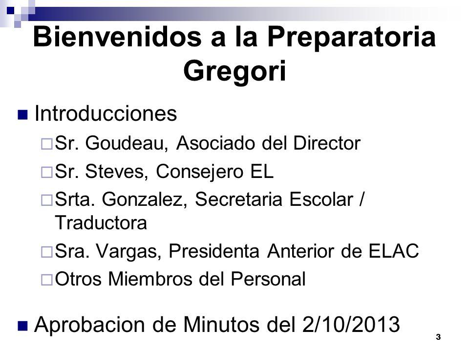 Bienvenidos a la Preparatoria Gregori Introducciones Sr. Goudeau, Asociado del Director Sr. Steves, Consejero EL Srta. Gonzalez, Secretaria Escolar /
