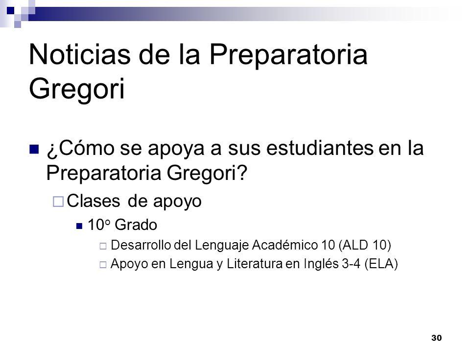 Noticias de la Preparatoria Gregori ¿Cómo se apoya a sus estudiantes en la Preparatoria Gregori? Clases de apoyo 10 o Grado Desarrollo del Lenguaje Ac
