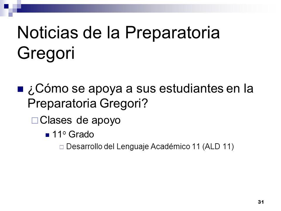 Noticias de la Preparatoria Gregori ¿Cómo se apoya a sus estudiantes en la Preparatoria Gregori? Clases de apoyo 11 o Grado Desarrollo del Lenguaje Ac