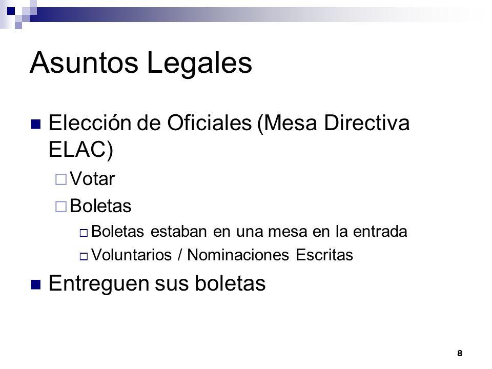 Asuntos Legales Elección de Oficiales (Mesa Directiva ELAC) Votar Boletas Boletas estaban en una mesa en la entrada Voluntarios / Nominaciones Escritas Entreguen sus boletas 8