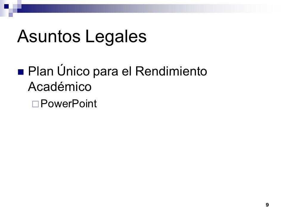 Asuntos Legales Plan Único para el Rendimiento Académico PowerPoint 9