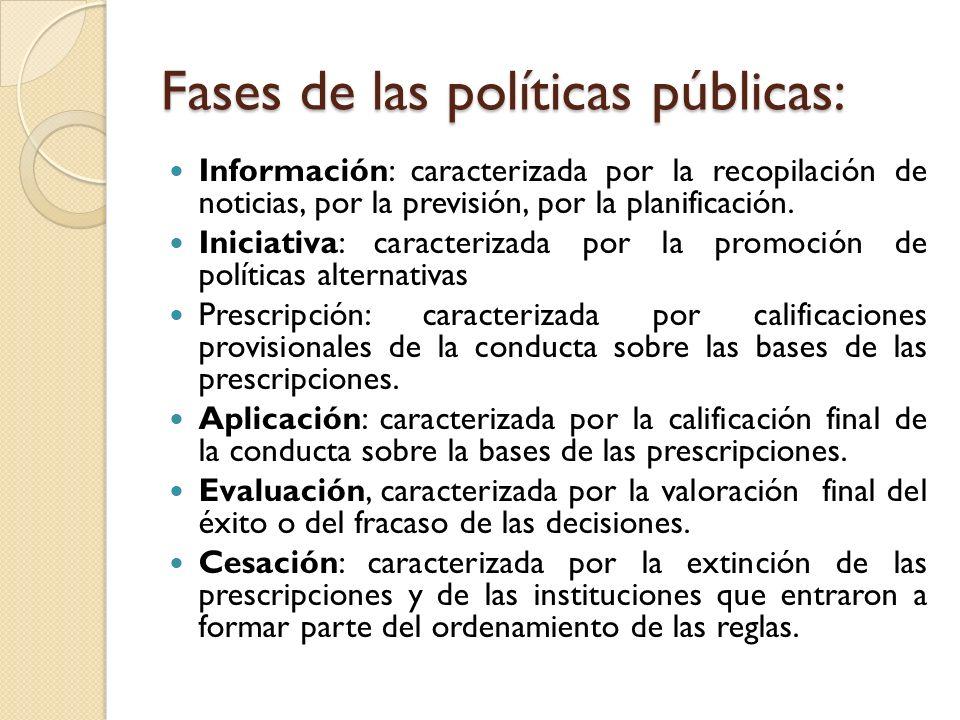 Fases de las políticas públicas: Información: caracterizada por la recopilación de noticias, por la previsión, por la planificación. Iniciativa: carac