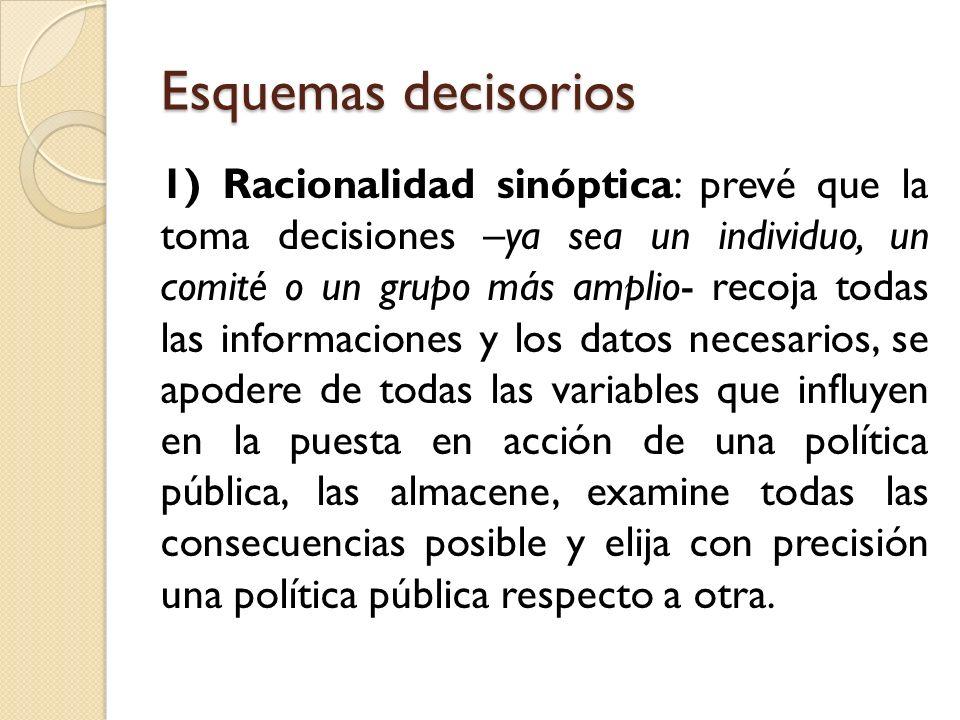 Esquemas decisorios 1) Racionalidad sinóptica: prevé que la toma decisiones –ya sea un individuo, un comité o un grupo más amplio- recoja todas las in