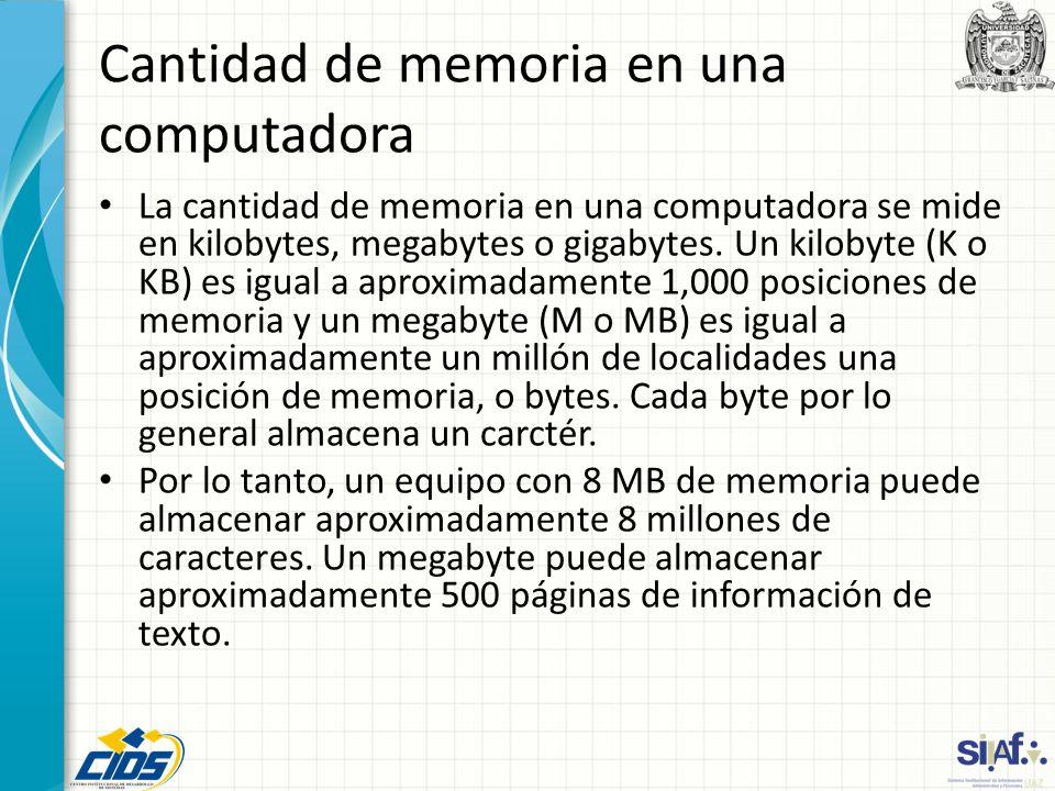 Cantidad de memoria en una computadora La cantidad de memoria en una computadora se mide en kilobytes, megabytes o gigabytes. Un kilobyte (K o KB) es
