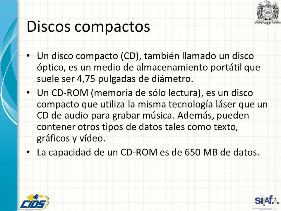 Discos compactos Un disco compacto (CD), también llamado un disco óptico, es un medio de almacenamiento portátil que suele ser 4,75 pulgadas de diámet