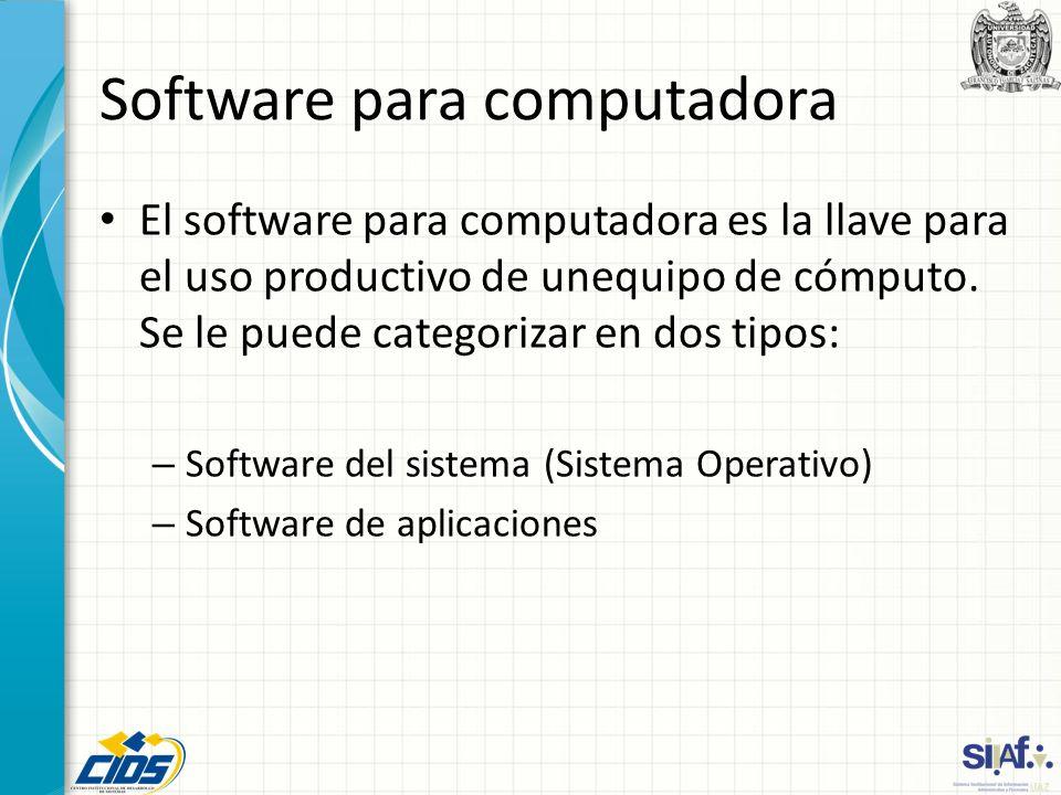 Software para computadora El software para computadora es la llave para el uso productivo de unequipo de cómputo. Se le puede categorizar en dos tipos