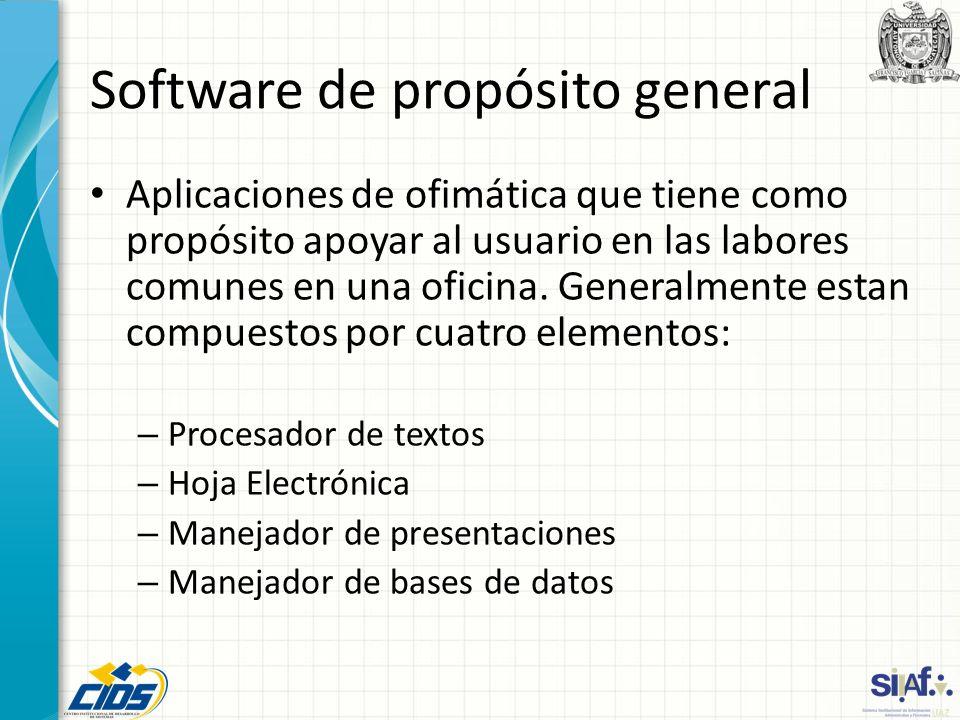 Software de propósito general Aplicaciones de ofimática que tiene como propósito apoyar al usuario en las labores comunes en una oficina. Generalmente