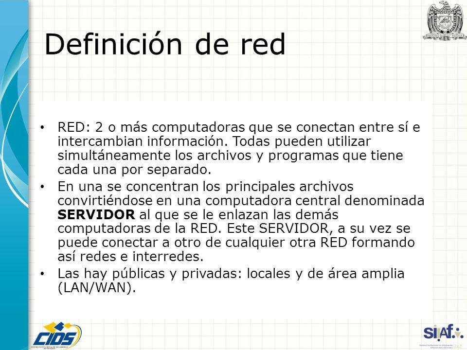 Definición de red RED: 2 o más computadoras que se conectan entre sí e intercambian información. Todas pueden utilizar simultáneamente los archivos y