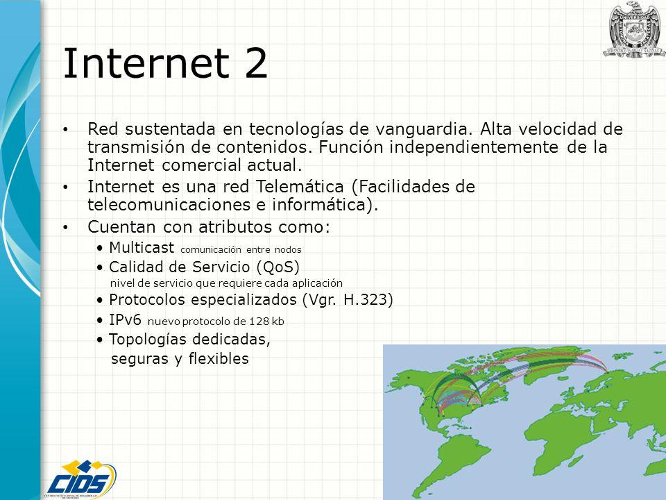 Internet 2 Red sustentada en tecnologías de vanguardia. Alta velocidad de transmisión de contenidos. Función independientemente de la Internet comerci