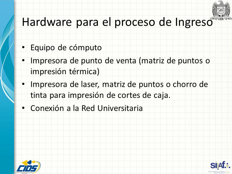 Hardware para el proceso de Ingreso Equipo de cómputo Impresora de punto de venta (matriz de puntos o impresión térmica) Impresora de laser, matriz de