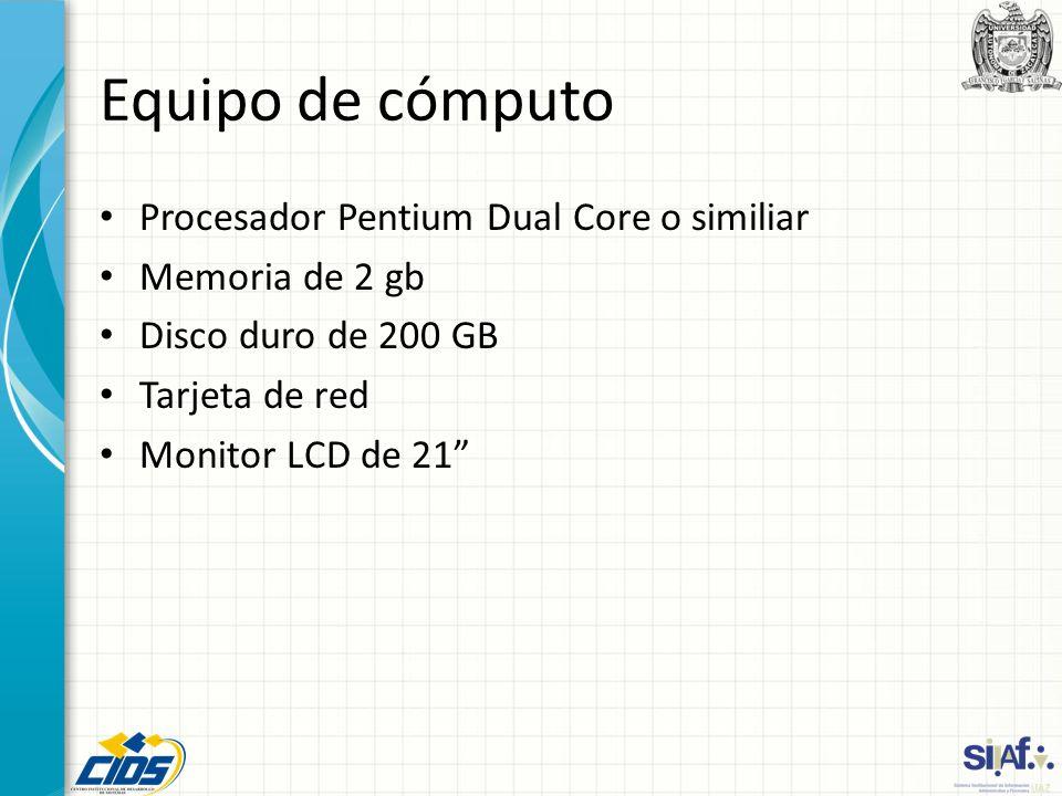 Equipo de cómputo Procesador Pentium Dual Core o similiar Memoria de 2 gb Disco duro de 200 GB Tarjeta de red Monitor LCD de 21