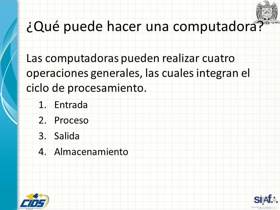 ¿Qué puede hacer una computadora? Las computadoras pueden realizar cuatro operaciones generales, las cuales integran el ciclo de procesamiento. 1.Entr