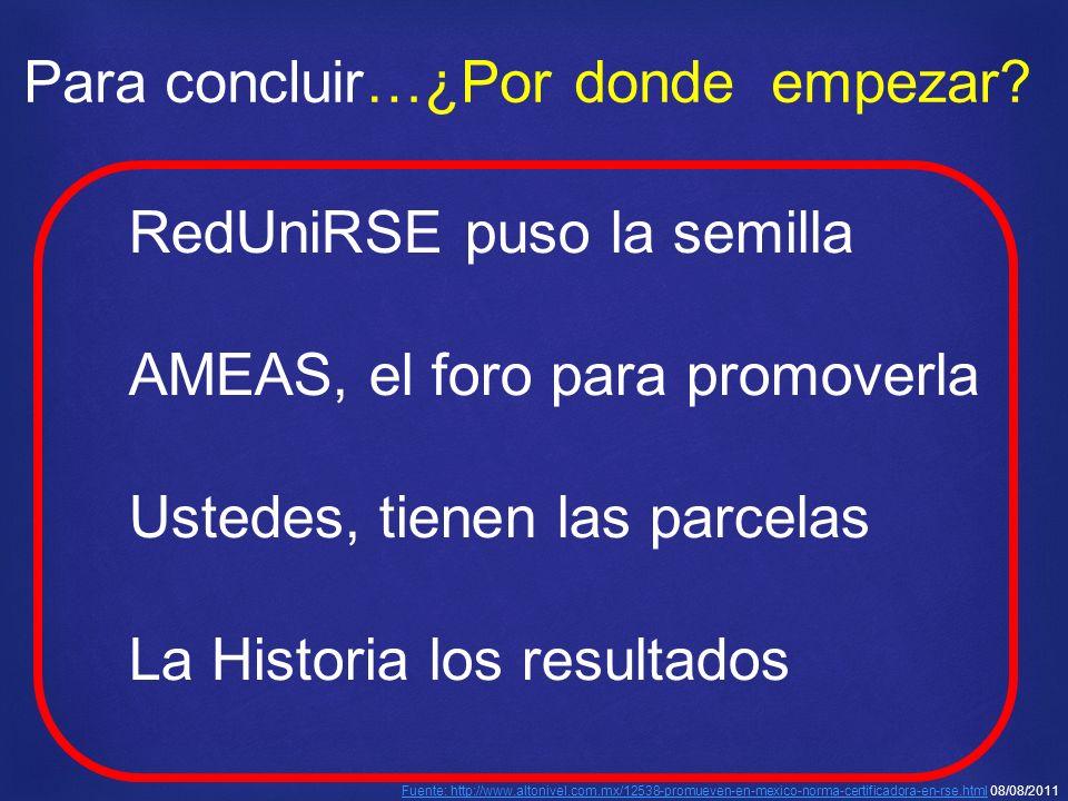 RedUniRSE puso la semilla AMEAS, el foro para promoverla Ustedes, tienen las parcelas La Historia los resultados Fuente: http://www.altonivel.com.mx/12538-promueven-en-mexico-norma-certificadora-en-rse.htmlFuente: http://www.altonivel.com.mx/12538-promueven-en-mexico-norma-certificadora-en-rse.html 08/08/2011 Para concluir…¿Por dondeempezar?