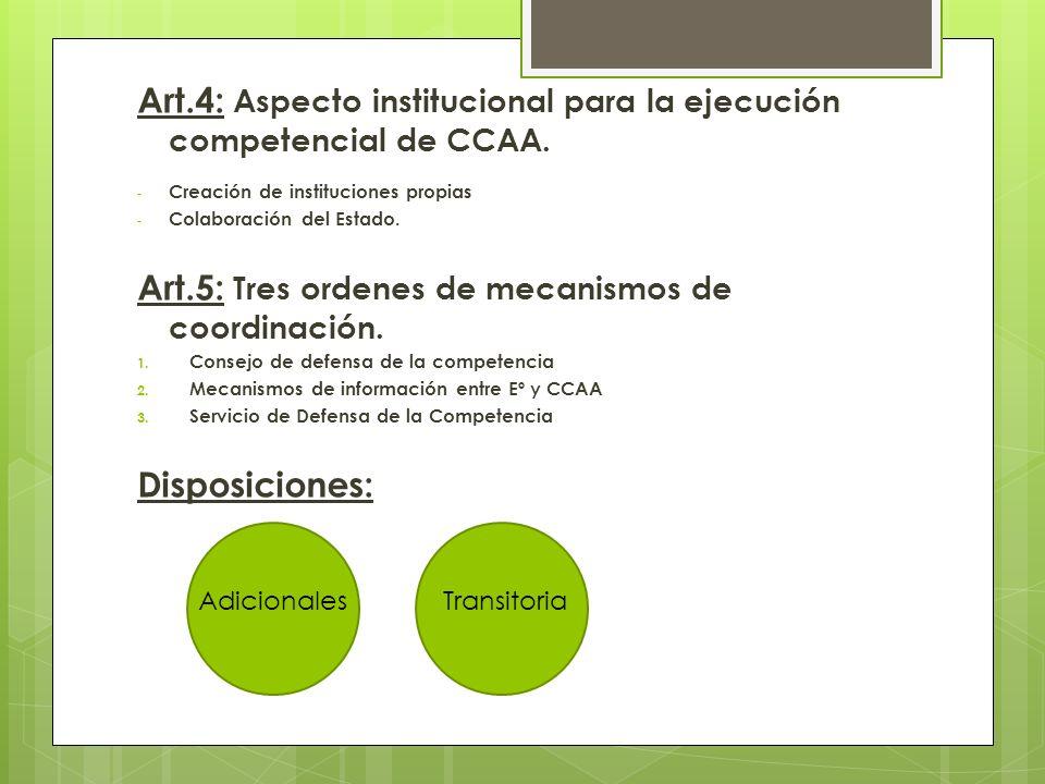 Art.4: Aspecto institucional para la ejecución competencial de CCAA. - Creación de instituciones propias - Colaboración del Estado. Art.5: Tres ordene