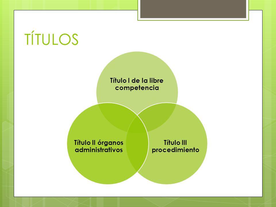 TÍTULOS Título I de la libre competencia Título III procedimiento Título II órganos administrativos