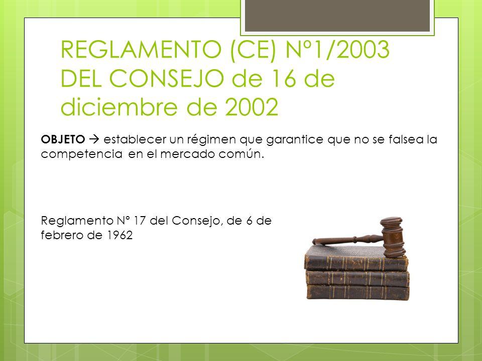 REGLAMENTO (CE) Nº1/2003 DEL CONSEJO de 16 de diciembre de 2002 OBJETO establecer un régimen que garantice que no se falsea la competencia en el merca