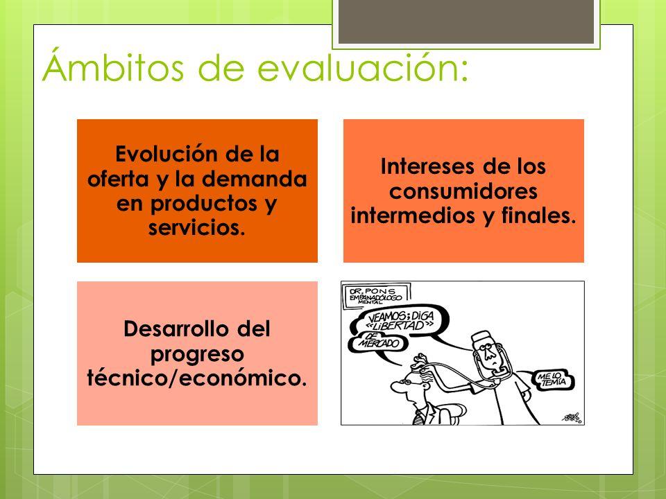 Ámbitos de evaluación: Evolución de la oferta y la demanda en productos y servicios. Intereses de los consumidores intermedios y finales. Desarrollo d