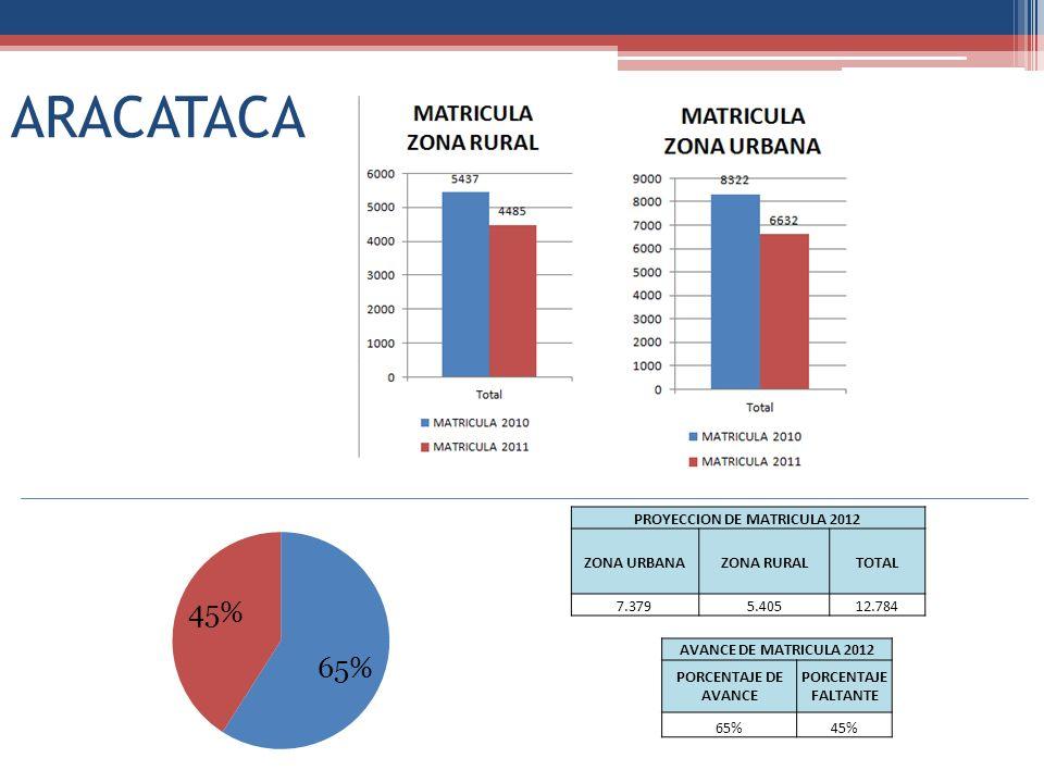 ARACATACA PROYECCION DE MATRICULA 2012 ZONA URBANAZONA RURALTOTAL 7.3795.40512.784 AVANCE DE MATRICULA 2012 PORCENTAJE DE AVANCE PORCENTAJE FALTANTE 65%45%