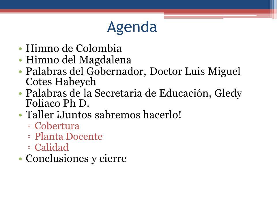 Himno de Colombia Himno del Magdalena Palabras del Gobernador, Doctor Luis Miguel Cotes Habeych Palabras de la Secretaria de Educación, Gledy Foliaco Ph D.