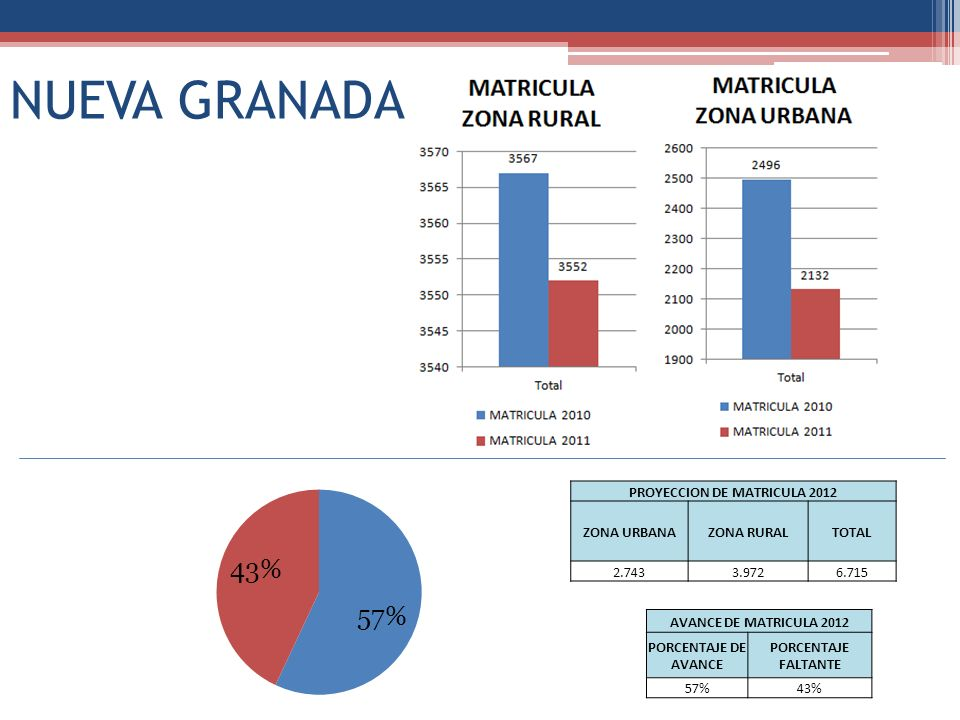 NUEVA GRANADA PROYECCION DE MATRICULA 2012 ZONA URBANAZONA RURALTOTAL 2.7433.9726.715 AVANCE DE MATRICULA 2012 PORCENTAJE DE AVANCE PORCENTAJE FALTANT