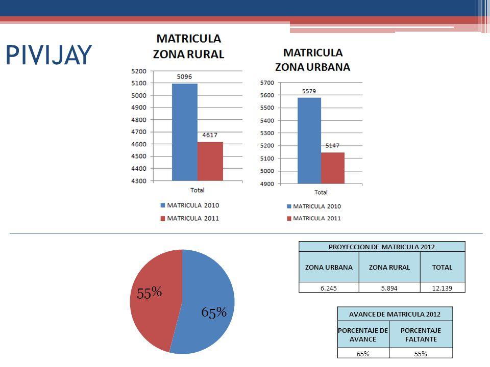 PIVIJAY PROYECCION DE MATRICULA 2012 ZONA URBANAZONA RURALTOTAL 6.2455.89412.139 AVANCE DE MATRICULA 2012 PORCENTAJE DE AVANCE PORCENTAJE FALTANTE 65%55%