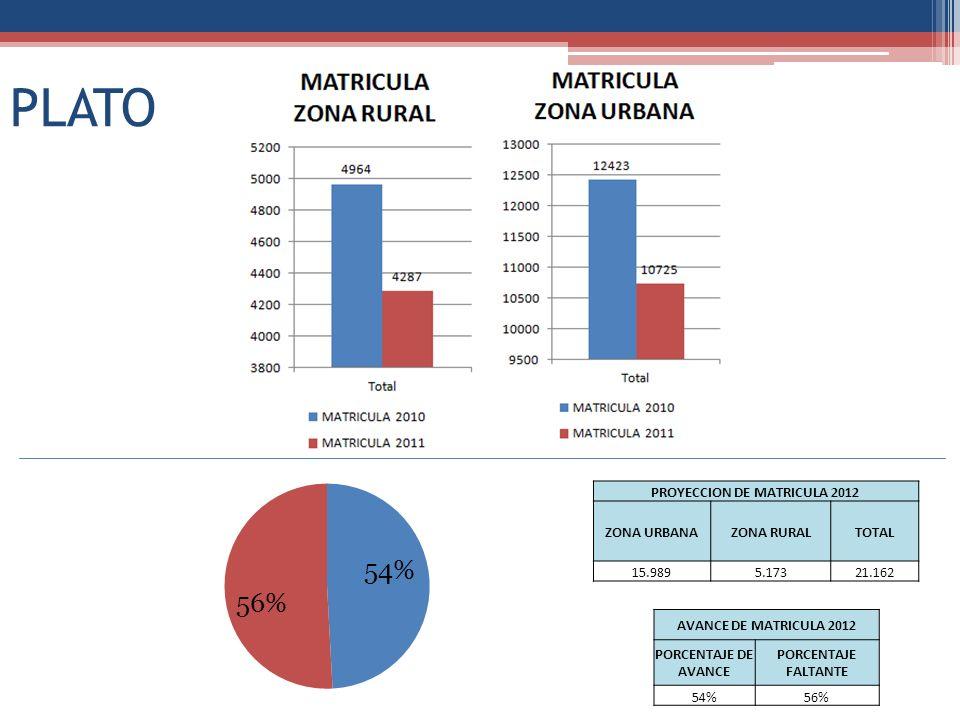 PLATO PROYECCION DE MATRICULA 2012 ZONA URBANAZONA RURALTOTAL 15.9895.17321.162 AVANCE DE MATRICULA 2012 PORCENTAJE DE AVANCE PORCENTAJE FALTANTE 54%5