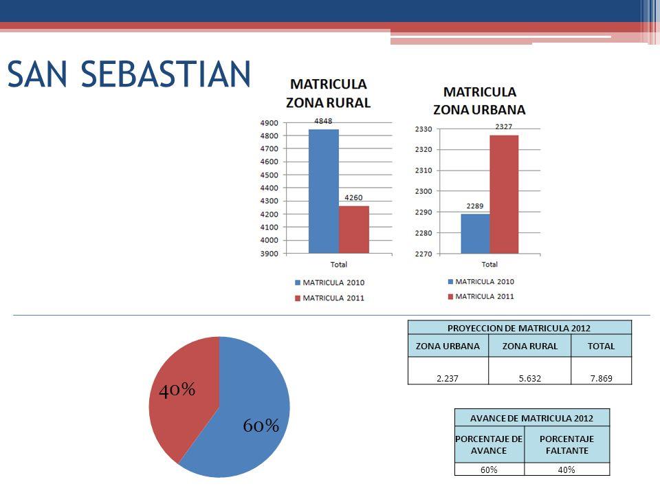 SAN SEBASTIAN PROYECCION DE MATRICULA 2012 ZONA URBANAZONA RURALTOTAL 2.2375.6327.869 AVANCE DE MATRICULA 2012 PORCENTAJE DE AVANCE PORCENTAJE FALTANTE 60%40%