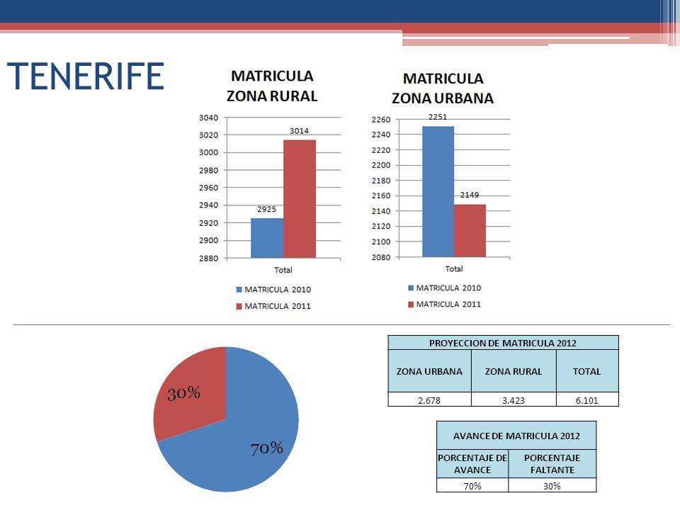 TENERIFE PROYECCION DE MATRICULA 2012 ZONA URBANAZONA RURALTOTAL 2.6783.4236.101 AVANCE DE MATRICULA 2012 PORCENTAJE DE AVANCE PORCENTAJE FALTANTE 70%30%