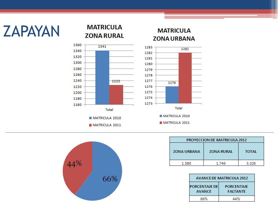 ZAPAYAN PROYECCION DE MATRICULA 2012 ZONA URBANAZONA RURALTOTAL 1.5801.7463.326 AVANCE DE MATRICULA 2012 PORCENTAJE DE AVANCE PORCENTAJE FALTANTE 66%4