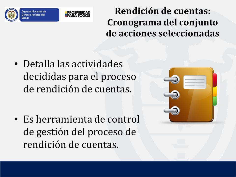 Rendición de cuentas: Cronograma del conjunto de acciones seleccionadas Detalla las actividades decididas para el proceso de rendición de cuentas.