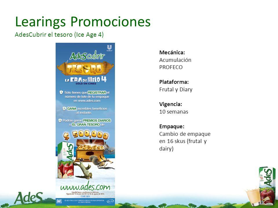 Learings Promociones AdesCubrir el tesoro (Ice Age 4) Mecánica: Acumulación PROFECO Plataforma: Frutal y Diary Vigencia: 10 semanas Empaque: Cambio de empaque en 16 skus (frutal y dairy)