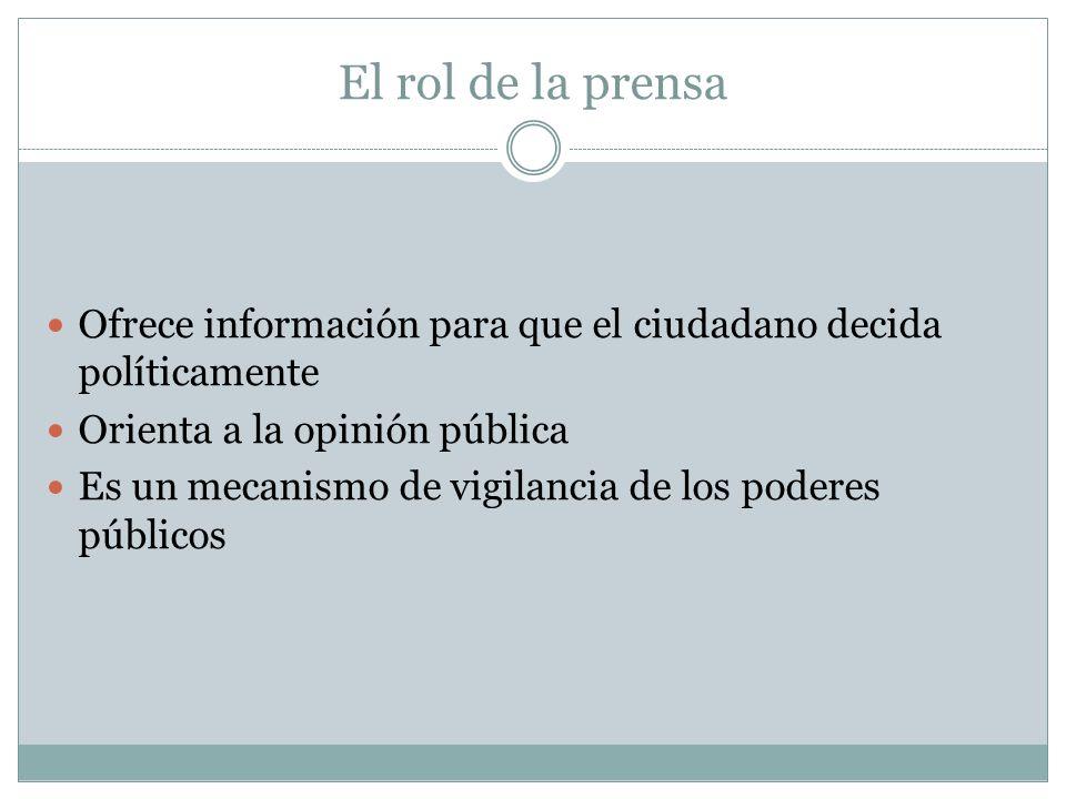 El rol de la prensa Ofrece información para que el ciudadano decida políticamente Orienta a la opinión pública Es un mecanismo de vigilancia de los poderes públicos