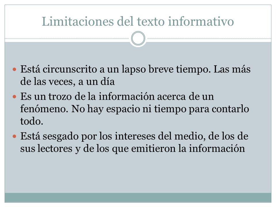 Limitaciones del texto informativo Está circunscrito a un lapso breve tiempo.