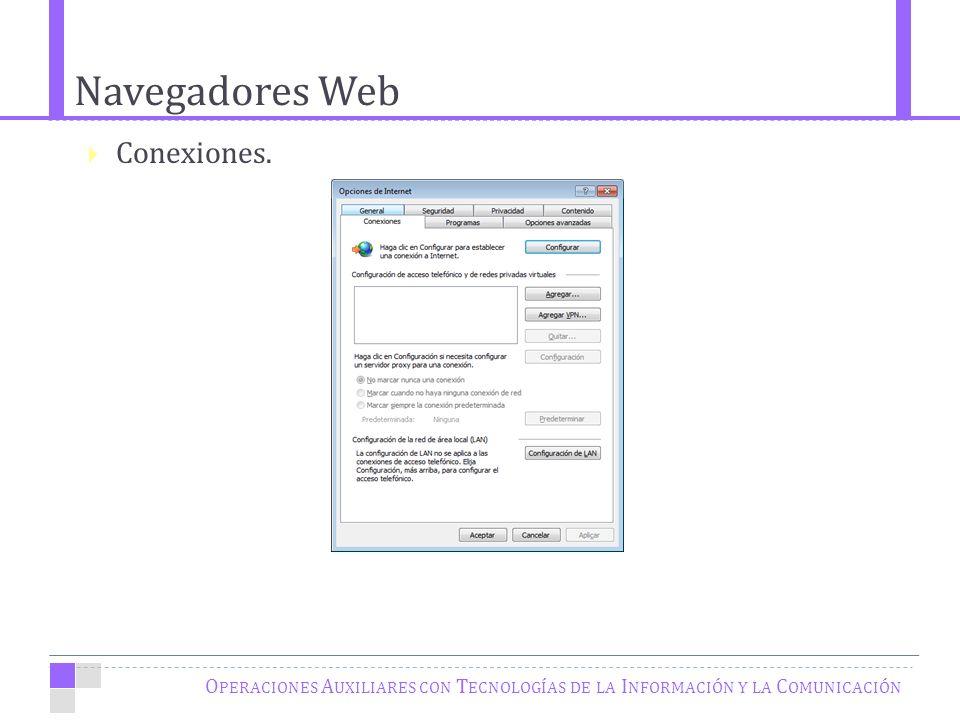 Navegadores Web O PERACIONES A UXILIARES CON T ECNOLOGÍAS DE LA I NFORMACIÓN Y LA C OMUNICACIÓN Conexiones.
