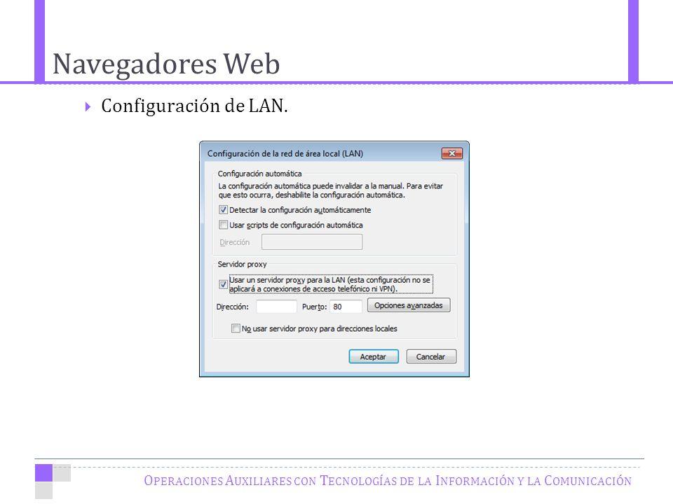 Navegadores Web O PERACIONES A UXILIARES CON T ECNOLOGÍAS DE LA I NFORMACIÓN Y LA C OMUNICACIÓN Configuración de LAN.