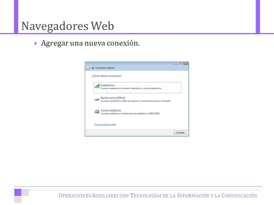 Navegadores Web O PERACIONES A UXILIARES CON T ECNOLOGÍAS DE LA I NFORMACIÓN Y LA C OMUNICACIÓN Agregar una nueva conexión.