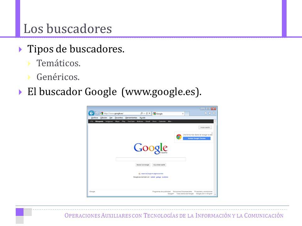 Los buscadores O PERACIONES A UXILIARES CON T ECNOLOGÍAS DE LA I NFORMACIÓN Y LA C OMUNICACIÓN Tipos de buscadores.