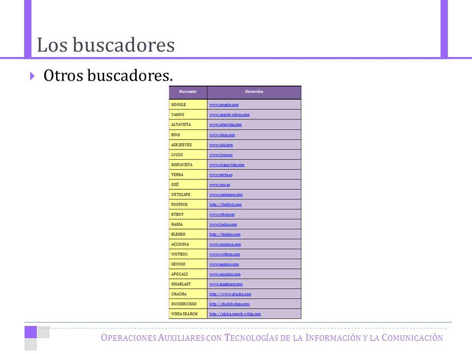 Los buscadores O PERACIONES A UXILIARES CON T ECNOLOGÍAS DE LA I NFORMACIÓN Y LA C OMUNICACIÓN Otros buscadores.
