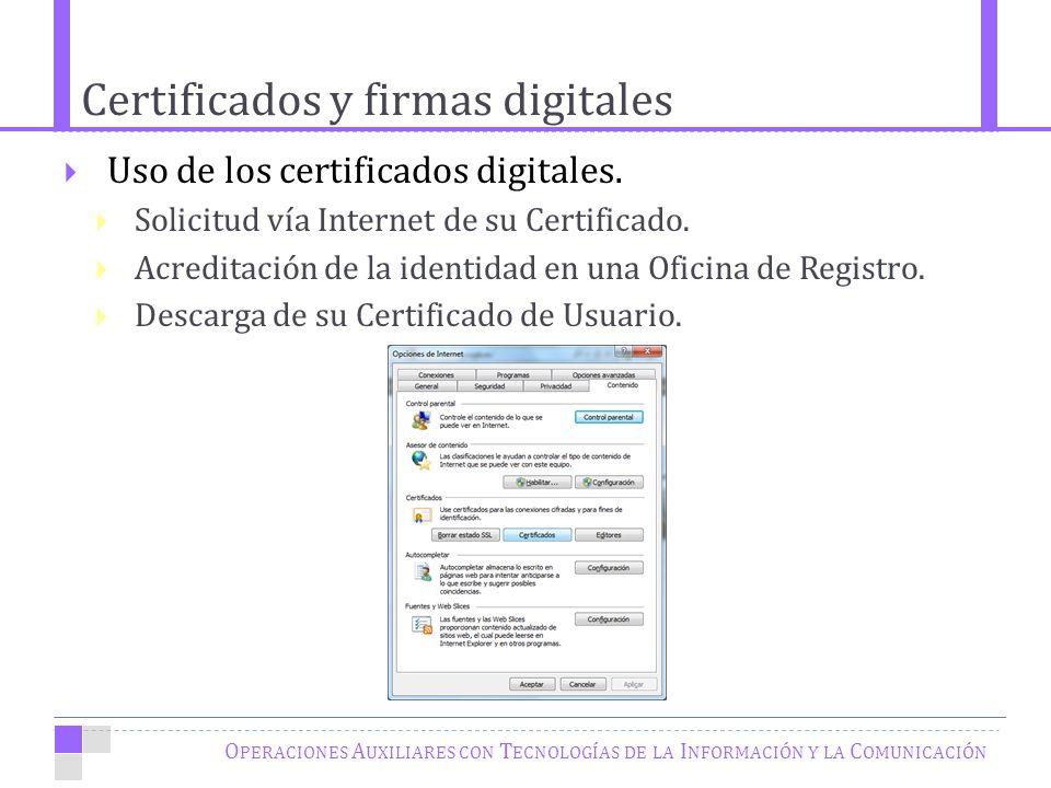 Certificados y firmas digitales O PERACIONES A UXILIARES CON T ECNOLOGÍAS DE LA I NFORMACIÓN Y LA C OMUNICACIÓN Uso de los certificados digitales.