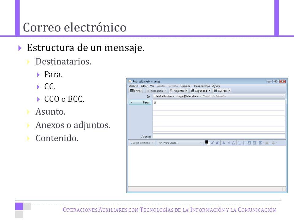 Correo electrónico O PERACIONES A UXILIARES CON T ECNOLOGÍAS DE LA I NFORMACIÓN Y LA C OMUNICACIÓN Estructura de un mensaje.
