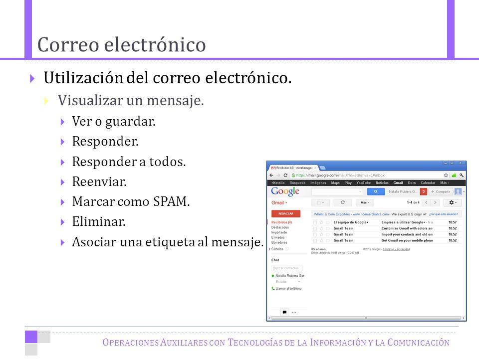 Correo electrónico O PERACIONES A UXILIARES CON T ECNOLOGÍAS DE LA I NFORMACIÓN Y LA C OMUNICACIÓN Utilización del correo electrónico.