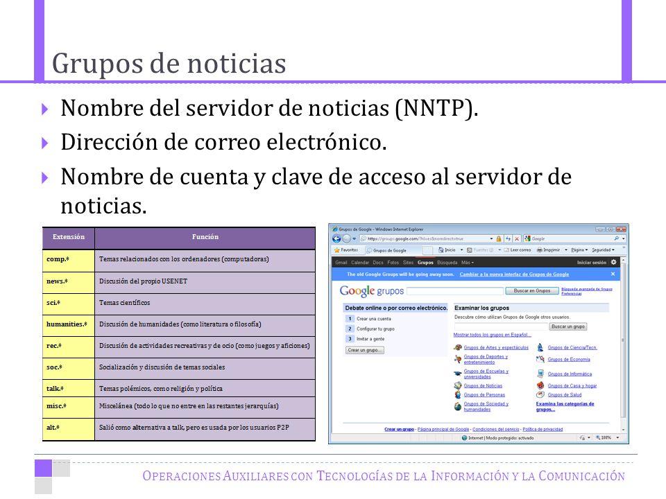 Grupos de noticias O PERACIONES A UXILIARES CON T ECNOLOGÍAS DE LA I NFORMACIÓN Y LA C OMUNICACIÓN Nombre del servidor de noticias (NNTP).
