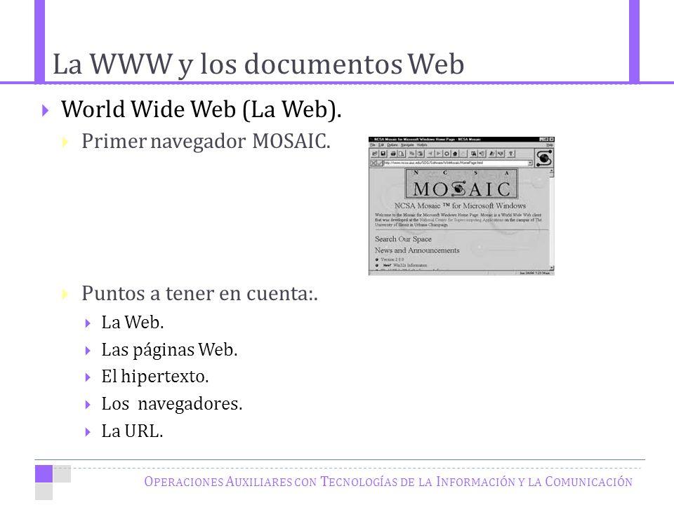 La WWW y los documentos Web O PERACIONES A UXILIARES CON T ECNOLOGÍAS DE LA I NFORMACIÓN Y LA C OMUNICACIÓN World Wide Web (La Web).